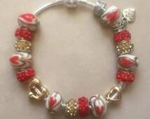 "Valentines Charm Bracelet ""Pandora-style"" Red Gold Hearts"