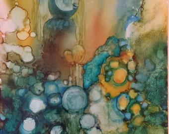 Abstract Original_peinture portrait mystique_a alcohol 18 '' X 26 '' on yupo paper ink