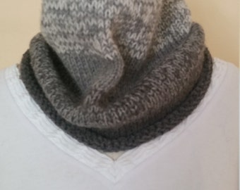 Hand Knit Gray Ombre Cowl/Infinity Scarf
