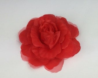 Red Rose Flower Corsage Brooch On Clip Hair Fascinator Hair Clip Wedding Event