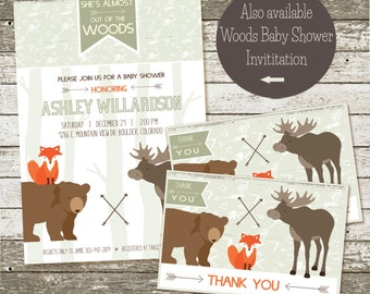 Woodland Baby Shower Thank You Cards