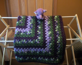 Green and Purples Crocheted Baby Blanket