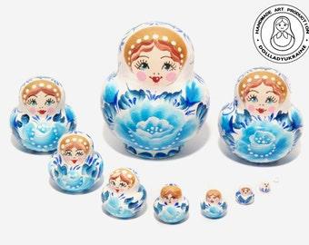 """Nesting Dolls  """"Gzhel"""" 10 pcs 5 cm, russian Nesting Dolls, Gift for Mom, Home Decor, Gift Ideas, Folk Art Dolls, Gift for Her, Wood Toy"""