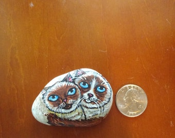 Hand Painted Rock Cats : Siamese