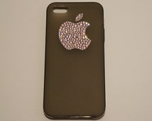 Black Frosted TPU Gel Case with Pink Swarovski Crystal Bling Case Cover FOR iPhone 5 and 5s