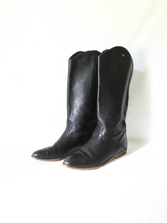 leather boots etienne aigner black leather boots size 6 5m