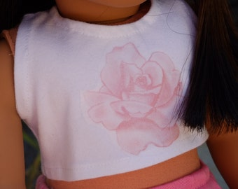 Pink Rose Cropped Tank Top For 18'' Dolls