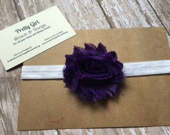 Purple shabby flower headband