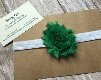 Green shabby flower headband