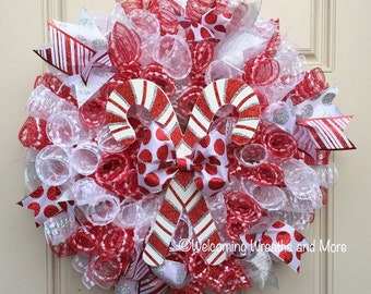 Candy Cane Wreath, Christmas Wreath, Candy Cane Mesh Wreath, Christmas Mesh Wreath, Red and White Christmas Wreath, Christmas Door Wreath