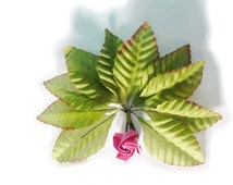 set 100 leaf, Silk Green Rose Fabric Artificial Leaf with Wire Stem for Decor Bridal Wedding Bouquet Make Hair Clips