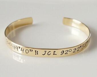 Coordinates, Latitude & Longitude Bracelet. Personalized Jewelry. Custom Hand Stamped.