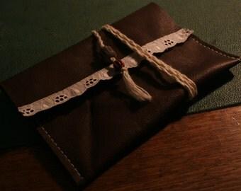 Leather Purse, makeup pouch, clutch