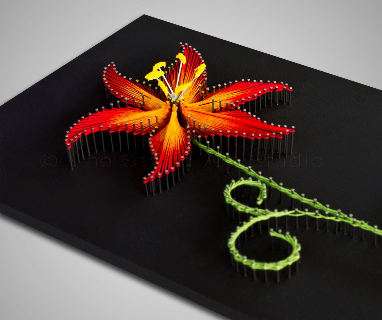 String Art The Fire Lily String Art Flower By Thestringartstudio