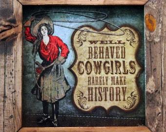 Cowgirl Decor 15x15 Western Decor Quality Framed Art Country Decor Texas Decor