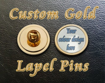 Gold Tie Pin Lapel Badge With Custom Print. For Awards and Promotional Events
