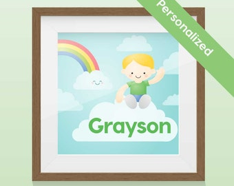 Personalized Kid Portrait - Clouds Boy Art Print / Wall Art with name and custom picture