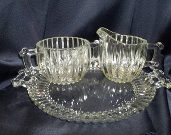 Jeannette Glass National Pattern Sugar Creamer Tray Set - Vintage Item #1827  ON SALE NOW!!