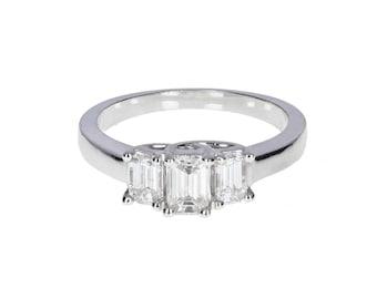 Emerald Cut Diamond Three Stone Ring in 18ct White Gold