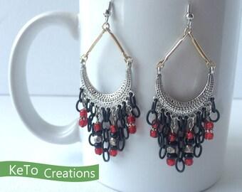 Earrings, Chandelier Style Earrings, Red Bead And Black Chain Earrings, Red Black And Silver Dangle Earrings