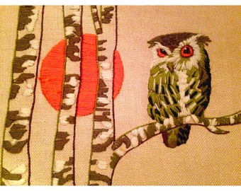 Vintage owl crosstich wall decor