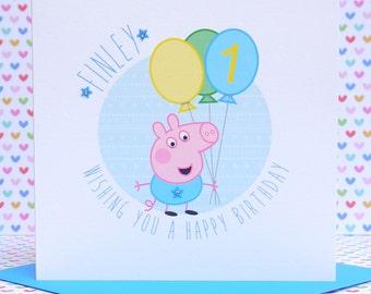 Personalised Handmade Peppa Pig-George Birthday Card 1st,2nd,3rd,4th,5th,6th