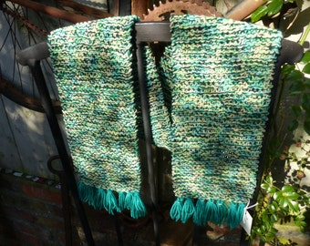 Hand Knitted Multi Green Scarf