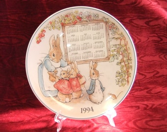 "Lovely Wedgwood ""Peter Rabbit"" 1994 Calendar Plate"