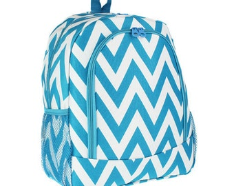 Monogrammed Backpack or Lunch  Box/ Chevron Turquoise/ FREE MONOGRAM