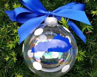 Polka Dot Kentucky Glass Ball Ornament
