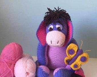 Amigurumi crochet :Cute Eeyore Large Winnie The Pooh Blue