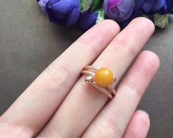 sterling silver amber stone ring