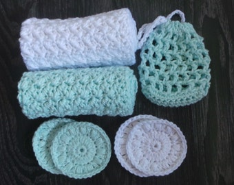 Mint and White Bath Set, Crochet 100% Cotton Washcloths, Mesh Soap Saver Bag and Face Scrubbies