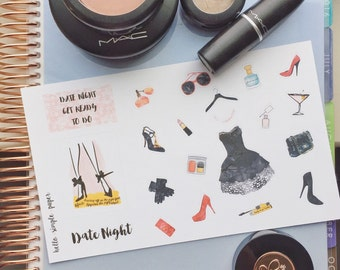 Date Night Makeup Planner Stickers