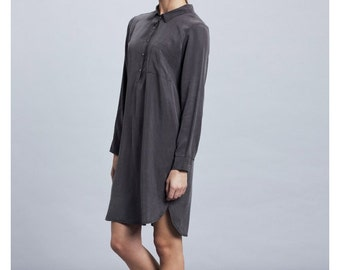 Women Dress , Buttoned Dress, Shirt Dress, Denim shirt dress, Long Sleeves Dress, Navy shirt dress, oversized dress, Black shirt dress