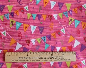 Happy Birthday Banner on Pink Cotton Fabric Fat Quarter 18 X 22