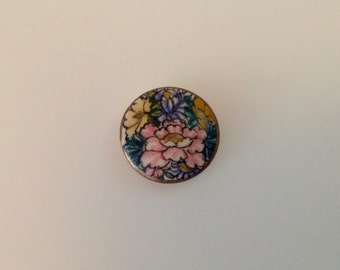 Vintage Satsuma Floral Button. Peony. Hand painted.