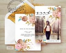Rose Gold Floral - Graduation Invitation Template - Printable Grad Announcement Card - Graduation template PSD - Photo Marketing Template