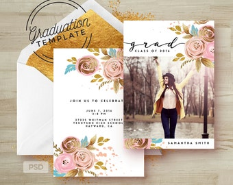 Rose Gold Floral - Graduation Invitation Photoshop Template - Printable Grad Announcement Card - Graduation - Photo Marketing Template