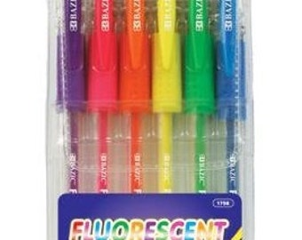 BAZIC 6 Fluorescent Color Gel Pen with Cushion Grip