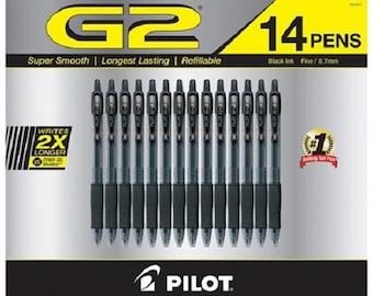 Pilot G2 Gel Pen with 0.7mm Fine Point, 14 per Pack - Black