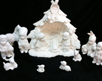 Ceramic 18 piece Native American nativity set