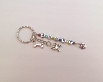 Personalised Chihuahua Keyring with Tibetan Silver Charms