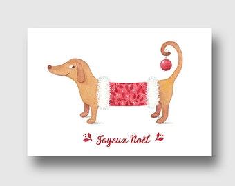 carte noël, carte de voeux, chien habillé, reproduction d'art aquarelle, giglée