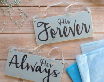 Her always , his forever chair signs mr and mrs wood sign , chair signs , wedding signs , wedding decor