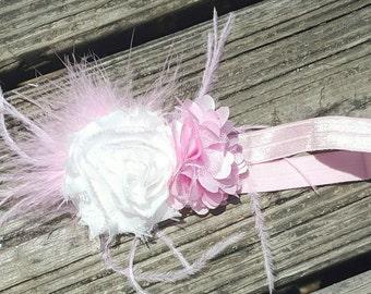 Pink and white flower baby headband, baby headband