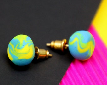 Yellow Swirl Stud Earrings