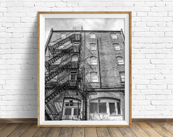 "black and white photography, large art, printable art, instant download printable art, digital download, wall art prints - ""Back Alley Wall"""
