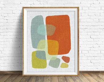 "mid century modern art, mid century modern wall art, large art, printable art, instant download, large wall art, abstract art - ""Pods No. 1"""