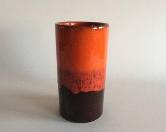 Glazed vaze, orange brown, retro look